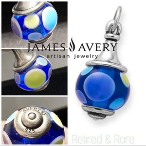 James Avery spotted blue dots greens blues finial